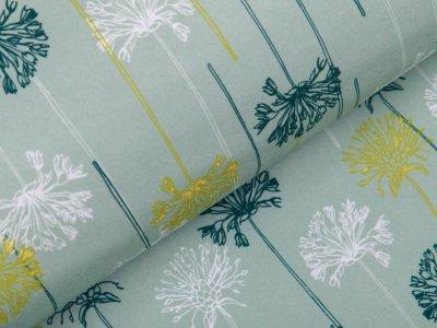 Softshell Jackenstoff - Pusteblumen - altgrün