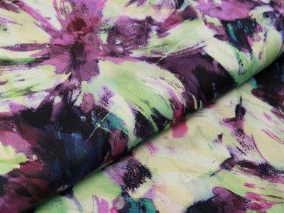 Webware Viskose INKJET - Vintage Blumen - pastellgelb