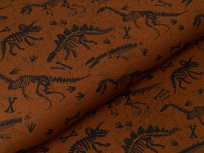 Leicht angerauter Sweat Swafing Joko - gruselige Dinoskelette - braun