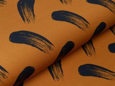 Sweat French Terry Modal Swafing Brush Strokes by lycklig design - fette Pinselstriche - ocker