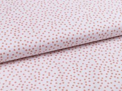 Webware Popeline Baumwolle - kleine Kreise - weiß/rost