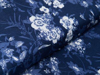 Webware Viskose  - Blumen - jeansblau