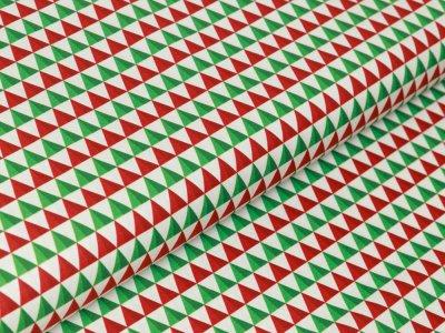 Webware Baumwolle Swafing Noel - Weihnachtliche Dreiecke - weiß