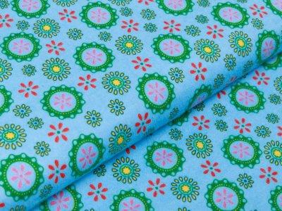 Flanell Baumwollstoff - Flower Power - blau