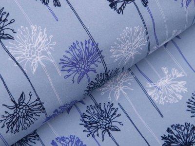 Softshell Jackenstoff - Pusteblumen - rauchblau