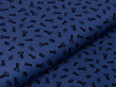 Webware Baumwolle Swafing Happy Metal by Steinbeck - Schrauben und Muttern - jeansblau