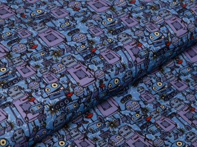 Webware Baumwolle Swafing Happy Metal by Steinbeck - Roboter-Party - blau