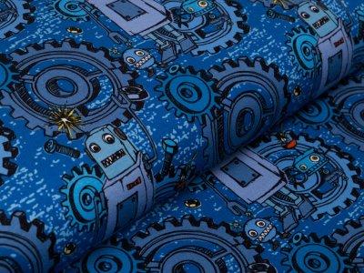 Jersey Swafing Happy Metal by Steinbeck - Zahnräder und Roboter  - blau