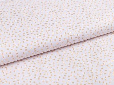 Webware Popeline Baumwolle - kleine Kreise - weiß/ocker