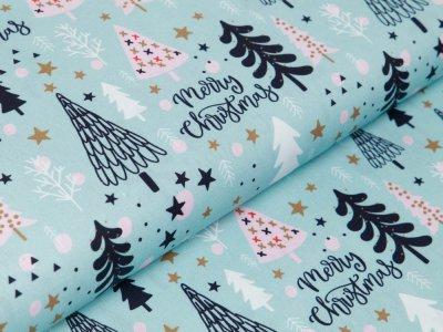 Webware Baumwolle Swafing Noel - geschmückte Weihnachtsbäume - helles blau
