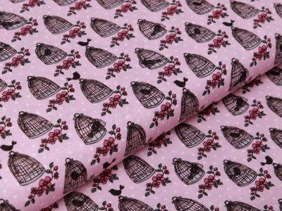 Webware Baumwolle Swafing Valerie Papillon by Steinbeck - Vogelkäfige auf Punkte - rosa