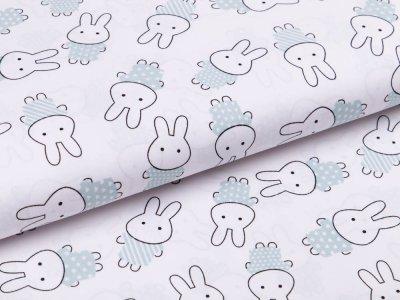 Webware Popeline Baumwolle - Miffy - weiß/mint