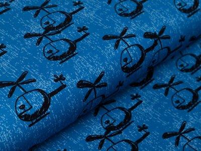 Jersey Swafing Happy Metal by Steinbeck - Hubschrauber - jeansblau