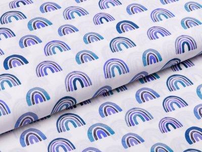 Webware Popeline Baumwolle Digitaldruck - Regenbögen - weiß