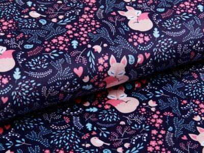 Struktur - Velvet - niedliche Fuchsdamen - nachtblau