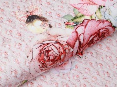 Sweat French Terry Digitaldruck Paris my Pearl City Stenzo PANEL ca. 75 cm x 150 cm - geschmückter Vogel - rosé