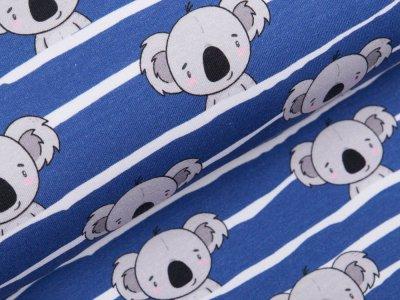 Angerauter Sweat Fräulein von Julie - Koalas auf Streifen - blau