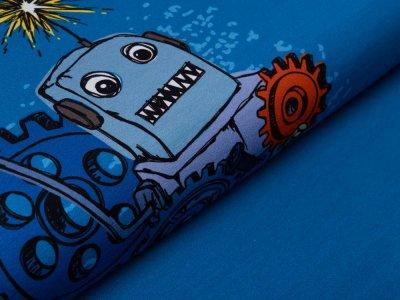 Jersey Swafing PANEL ca. 65 cm x 160 cm Happy Metal by Steinbeck - Roboter mit Schrauben und Muttern - jeansblau