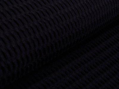 Waffelpiqué Baumwolle - Waffeloptik - schwarz