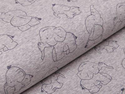Alpenfleece - Babyelefanten - meliert grau