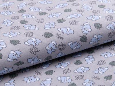 Jersey Organic Cotton - Elefanten und Blätter - hellgrau