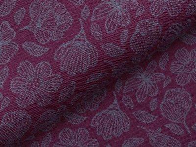 Jersey Jacquard Swafing Grace by jolijou - Blüten - aubergine