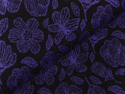 Jersey Jacquard Swafing Grace by jolijou - Blüten - schwarz/lila