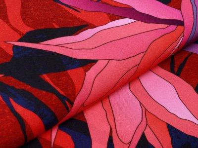 Webware Viskose Swafing Paradise Bloom by Thorsten Berger - tropischen Paradiesvogelblüten - rot