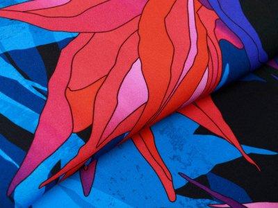 Webware Viskose Swafing Paradise Bloom by Thorsten Berger - tropischen Paradiesvogelblüten - blau