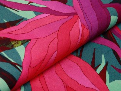 Webware Viskose Swafing Paradise Bloom by Thorsten Berger - tropischen Paradiesvogelblüten - grün