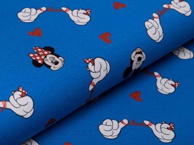 Jersey mit Glitzer Disney Mickey Mouse - Minnie und Mickey in Love - blau