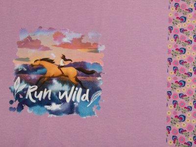 Jersey Digitaldruck PANEL ca. 75 x 140 cm - Spirit Wild und Frei - Lucky und Spirit - lila