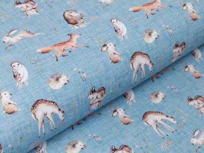 Jersey Digitaldruck My Cutest Animals Stenzo - Eulen und andere Waldtiere auf Kratzoptik - blau