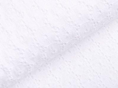 Webware Leinenstoff mit Lochstickerei Broderie - Kreise - weiß