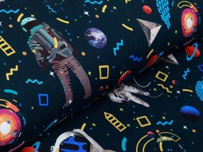 Sweat French Terry Digitaldruck Colorful Space Stenzo - Kunterbuntes Weltall - nachtblau