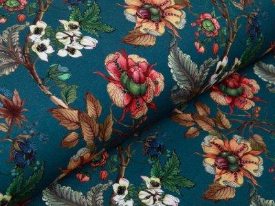 Sweat French Terry Digitaldruck Stenzo The Flower Garden - Herbstzweige und Blüten - rauchblau