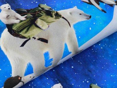 Sweat French Terry Digitalprint Home to Antarctica Stenzo PANEL ca. 100 cmx 150 cm - DIY my Circle Skirt mit Eisbären - blau