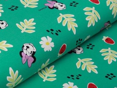 Jersey mit Glitzer Disney Mickey Mouse - Minnie mit Schleife - grün