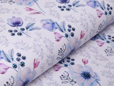 Sweat French Terry by Klaranähta - zauberhafte Blumen - weiß/flieder