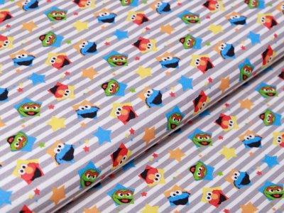 Webware Baumwolle 123 Sesamstraße - Elmo und seine Freunde - weiß