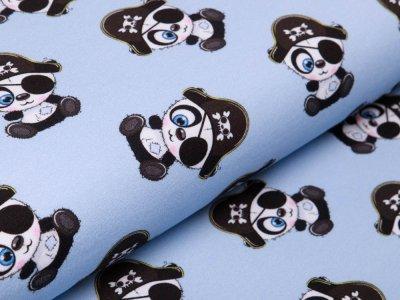 Sweat French Terry - süße Piraten-Pandabären - graublau