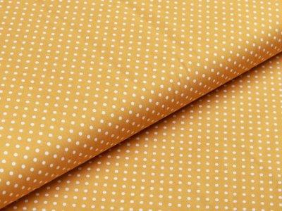 Webware Baumwolle Popeline -  mini Punkte - ocker