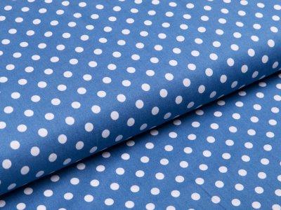 Webware Baumwolle Popeline - Punkte - jeansblau