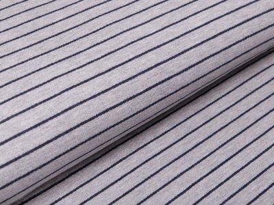 Sweat French Terry - schmale Streifen - grau