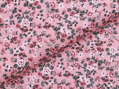 Webware Baumwolle Popeline - romantische Blumen - altrosa