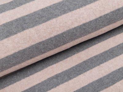 angerauter elastischer Strickstoff Swafing Lenn - Streifen - rosa/grau