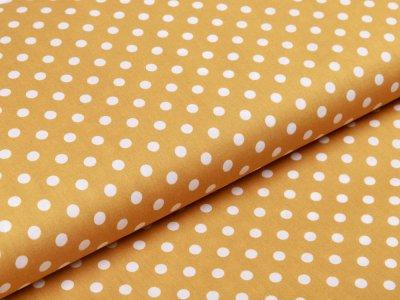 Webware Baumwolle Popeline - Punkte - ocker