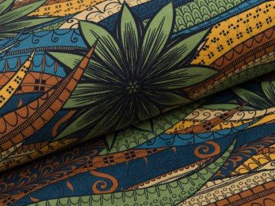 Jersey Digital - Schlangen und Blumen - grün/blau/ocker