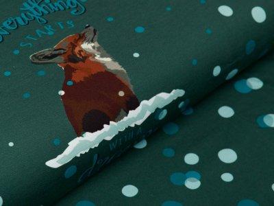 Sweat French Terry Swafing PANEL ca. 95 cm x 160 cm Dreamer by Bienvenido Colorido - verschneiter Fuchs - grün
