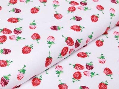 Webware Popeline Baumwolle - fruchtige Himbeeren - weiß